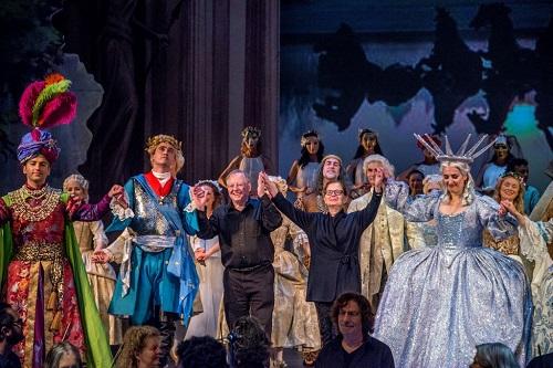 Nicholas McGegan (center) and the cast of Rameau's 'Le Temple de la Gloire' (Photo: Frank Wing)
