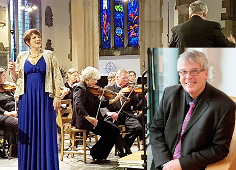 Peninsula Arts Sinfonietta with Jeni Burn (left) and Simon Ible (insert) - credit Philip R Buttall