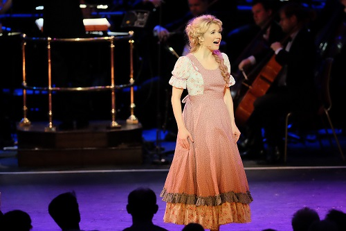 Scarlett Strallen (Laurey) performs in Oklahoma! with the John Wilson Orchestra under conductor John Wilson at the 2017 BBC Proms. Photo: Mark Allen.