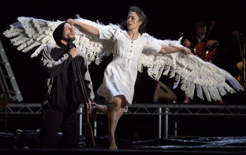 Austrian dancer Alexander Leonhartsberger (L) and Canadian dancer Rachael Poirier perform a scene from Michael Keegan-Dolan's adaptation of Swan Lake (Loch na hEala), during a press preview at Sadler's Wells theatre in London on November 25, 2016. / AFP / Justin TALLIS / EDITORIAL USE ONLY        (Photo credit should read JUSTIN TALLIS/AFP/Getty Images)