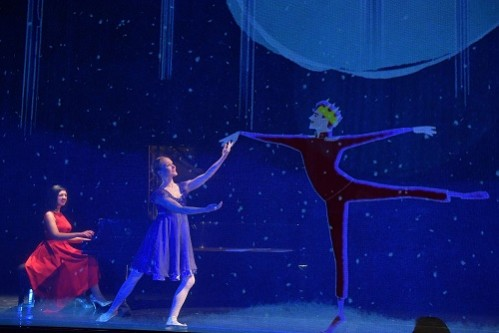 The Nutcracker and I, by Alexandra Dariescu, with ballerina Désirée Ballantyne, animations by Yeast Culture, and choreography by Jenna Lee. At Milton Court Concert Hall, Guildhall School of Music & Drama as part of their Alumni Recital Series Photo by Mark Allan