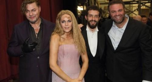 Omer Meir Wellber with René Pape, Kristine Opolais & Joseph Calleja at 'Mefistofele', Bavarian State Opera © Wilfried Hösl