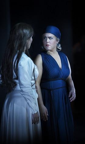 Kararina Dalayman (left) as Amneris, and Christina Nilsson (right) as Aida. Photographer: Markus Gårder.