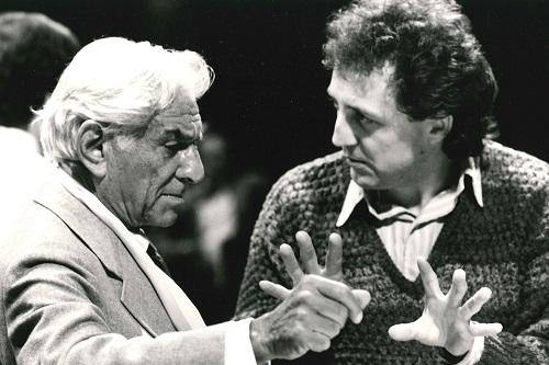 Leonard Bernstein and Bramwell Tovey in 1986 © Susie Maeder (London)