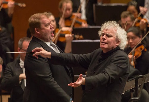 Stuart Skelton and Simon Rattle with the LSO © Kevin Yatarola