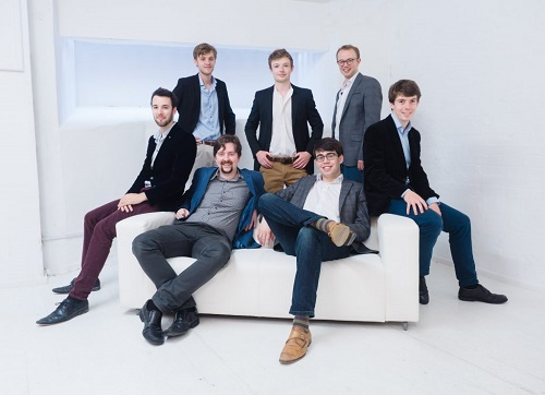 The Gesualdo Six [Guy James (countertenor), Joseph Wicks and Josh Cooter (tenors), Michael Craddock (baritone), Samuel Mitchell (bass), Owain Park (director)] © Ash Mills