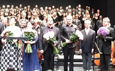 Golda Schultz, Mihoko Fujimura, Benjamin Bruns, Christof Fischesser, Fabio Luisi and Janko Kastelic (left to right) (c) John Rhodes