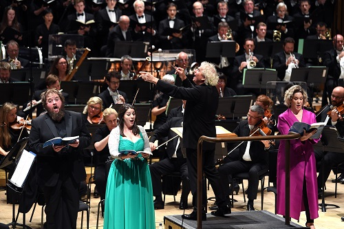 Allan Clayton, Elizabeth Watts, Alice Coote and the LSO conducted by Sir Simon Rattle (c) Doug Peters/PA Wire